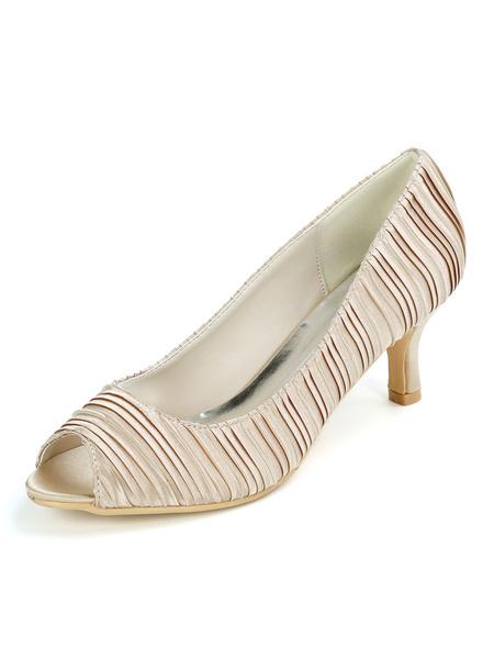 Milanoo Ivory Wedding Shoes Satin Peep Toe Stiletto Heel Bridal Shoes