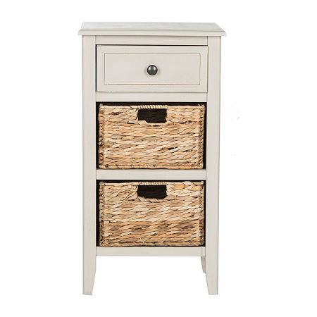 Everly 3-Drawer Storage End Table, One Size , Gray