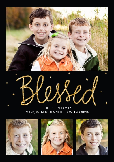 Christmas Photo Cards Flat Glossy Photo Paper Cards with Envelopes, 5x7, Card & Stationery -Blessed