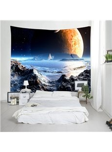 3D Mountains and Planet Galaxy Digital Printing Decorative Hanging Wall Tapestry