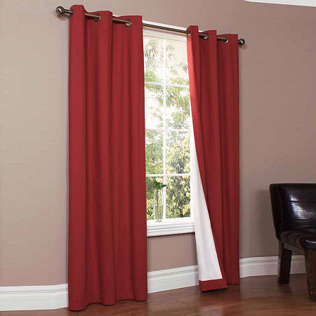 Weathermate Energy Saving Blackout Grommet-Top Set of 2 Curtain Panel, One Size , Red