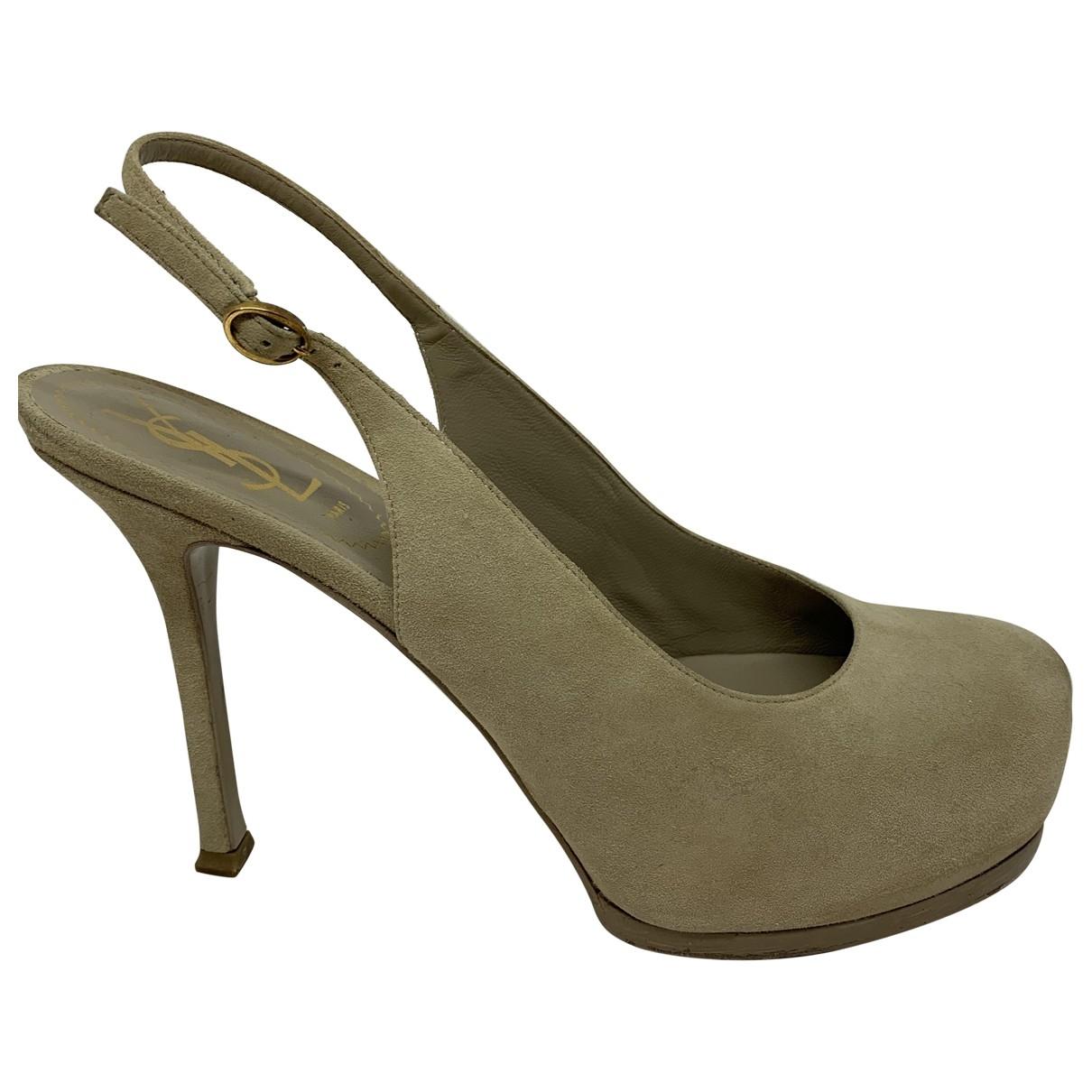 Yves Saint Laurent Trib Too Grey Suede Heels for Women 38 EU