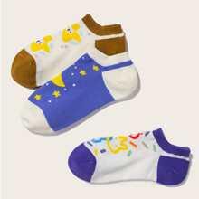3 pares calcetines con dibujos animados