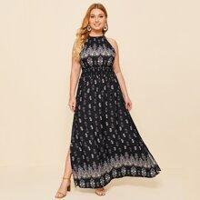 Grosse Grossen - Kleid mit Schlitz, Stamm Muster und Neckholder