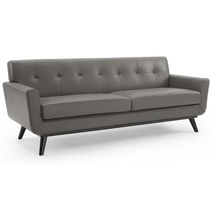 Engage Collection EEI-3733-GRY Top-Grain Leather Living Room Lounge Sofa in Gray