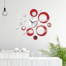 1set Circle Mirror Surface Wall Clock