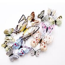 12 piezas pegatina de pared en forma de mariposa 3D