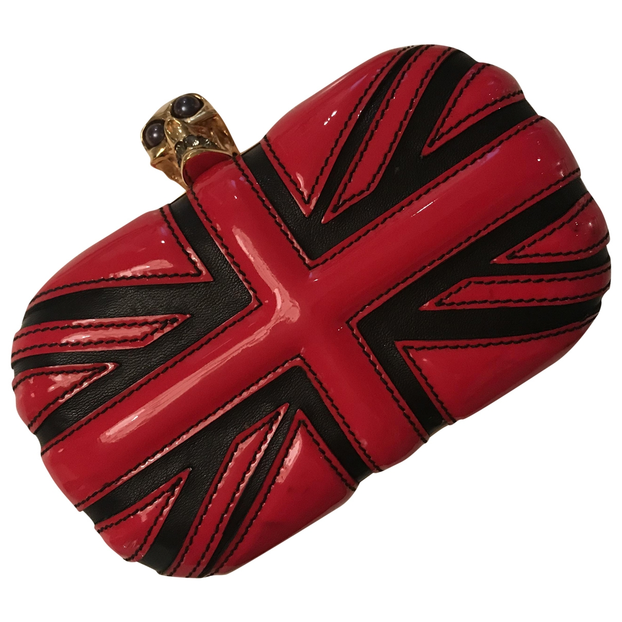 Alexander Mcqueen Skull Red Patent leather Clutch bag for Women \N