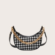 Houndstooth Graphic Baguette Bag