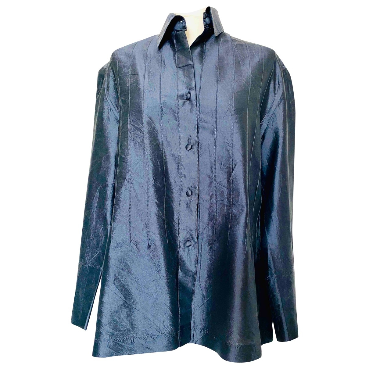 Non Signé / Unsigned Oversize Blue Silk  top for Women 46 FR