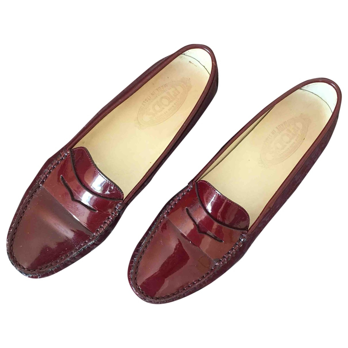 Tod's \N Burgundy Patent leather Flats for Women 41 EU