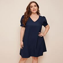 Plus V Neck Puff Sleeve Solid Dress