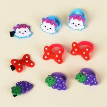 9 piezas goma de pelo y horquilla de niñitas con diseño de dibujos animados y fruta