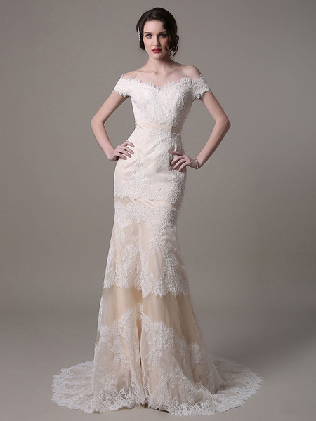 Milanoo Champagne Vintage Mermaid Lace Wedding Dress With Off-the-Shoulder Sweep Train(Belt not Included)