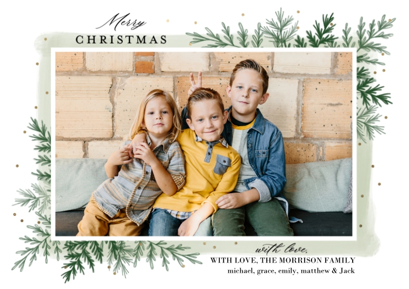 Christmas Photo Cards Flat Glossy Photo Paper Cards with Envelopes, 5x7, Card & Stationery -Christmas Greenery by Tumbalina