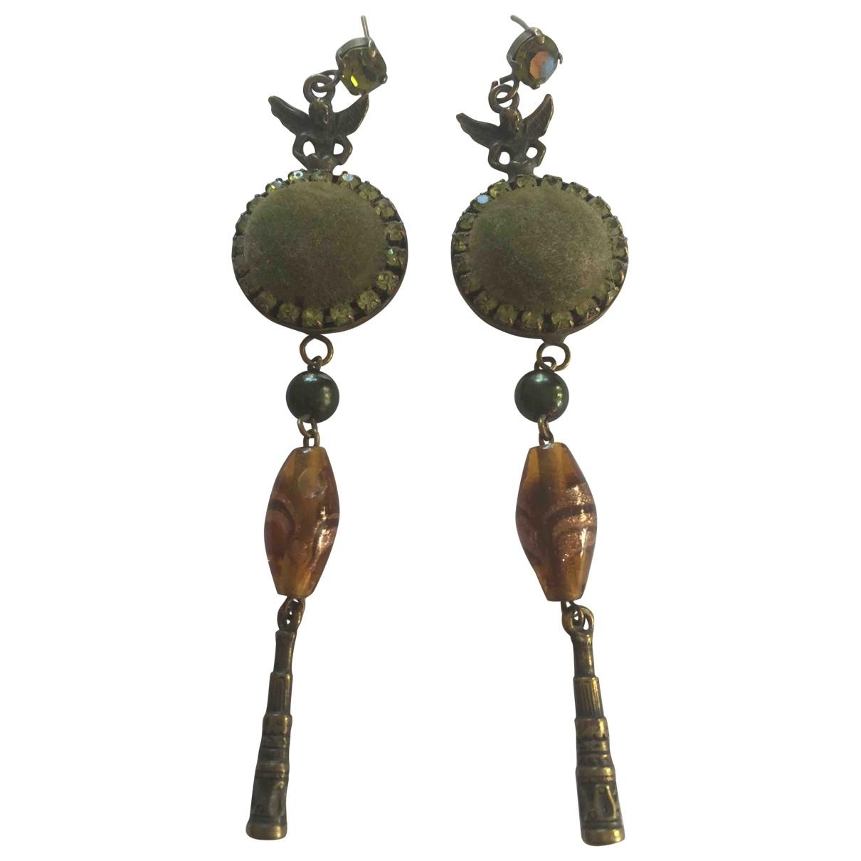- Boucles doreilles Motifs Ethniques pour femme en metal - vert
