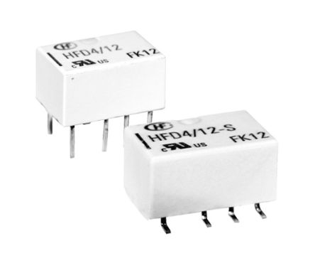 Hongfa Europe GMBH , 12V dc Coil Non-Latching Relay DPDT, 2A Switching Current PCB Mount, 2 Pole (2)