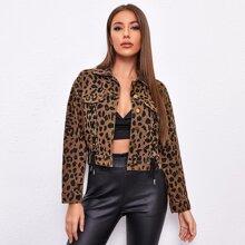 Denim Jacke mit Gepard Muster und Band