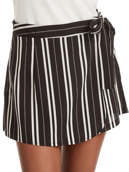 Milanoo Shorts de mujer Casual Lace Up Stripes Polyester Summer Short