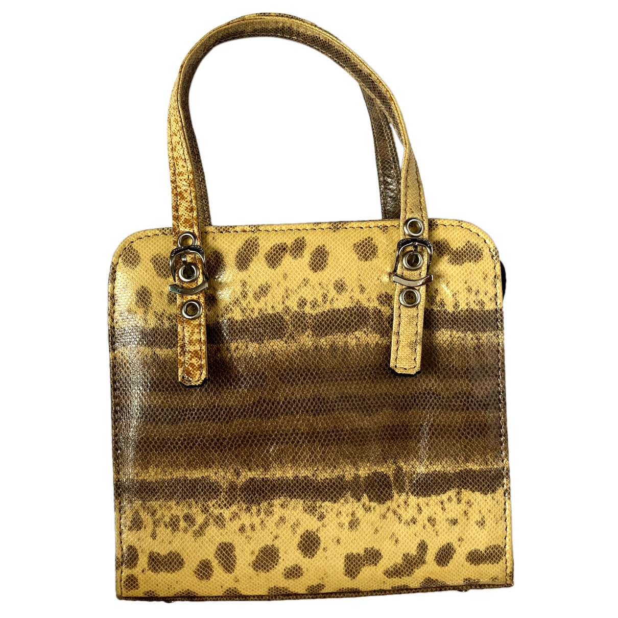 Non Signé / Unsigned \N Yellow Water snake handbag for Women \N