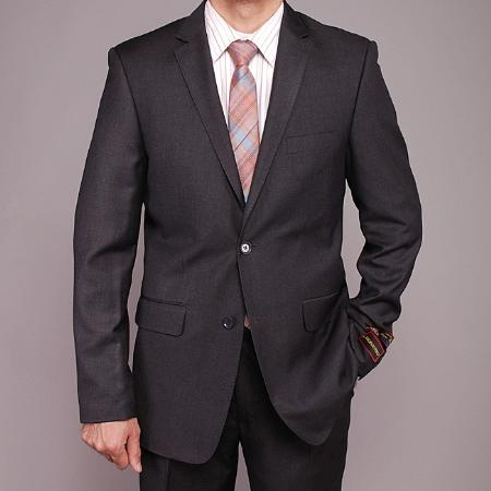 2 Button Charcoal Gray Slim fit Suit Mens Cheap