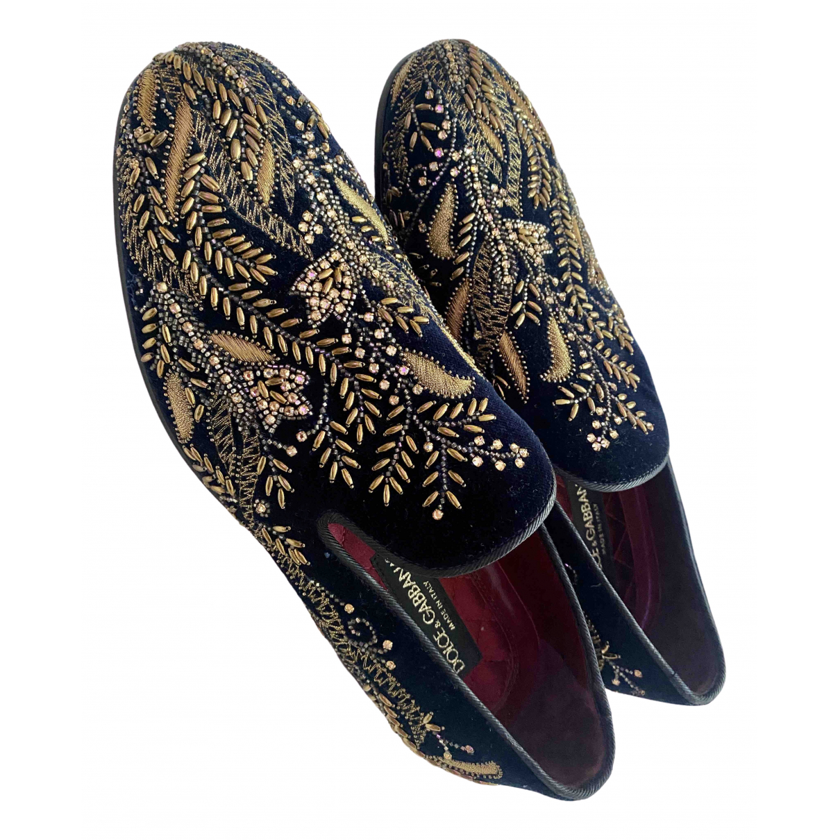 Dolce & Gabbana \N Black Velvet Flats for Men 40 EU