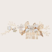 Flower & Faux Pearl Decor Hair Comb