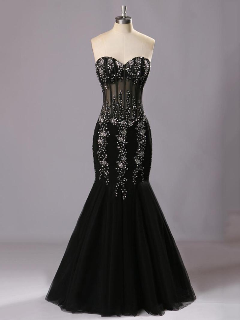 Ericdress Sweetheart Long Beaded Sheath Mermaid Evening Dress