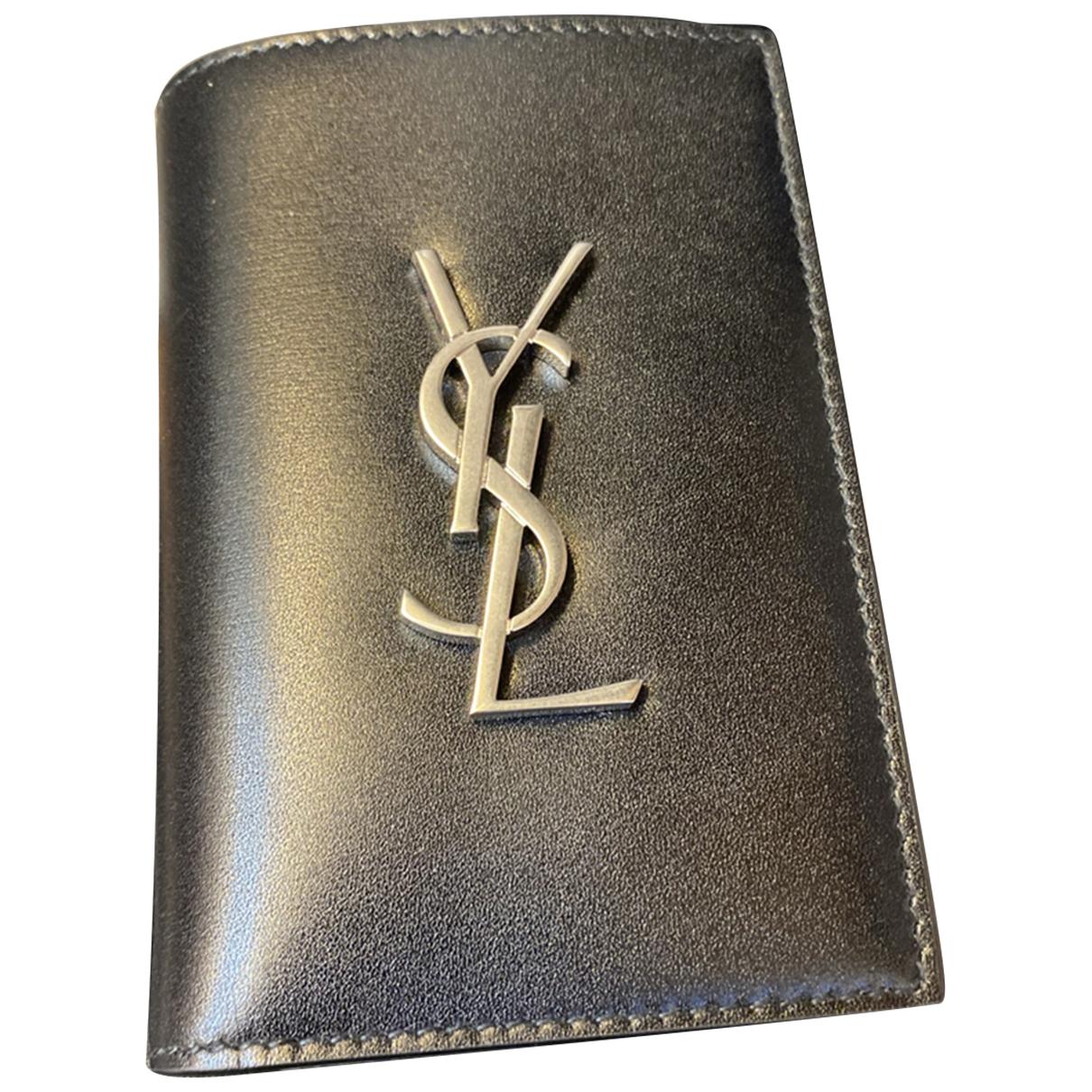 Saint Laurent \N Black Leather Small bag, wallet & cases for Men \N