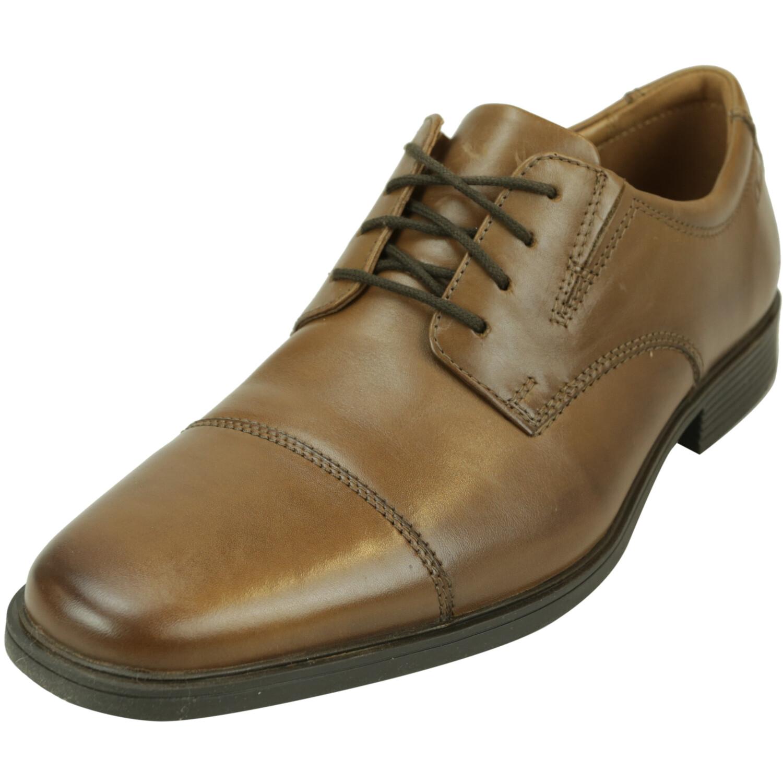 Clarks Men's Tilden Cap Dark Tan Low Top Leather Oxford - 10M