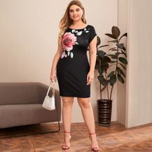 Plus Cap Sleeve Floral Print Dress