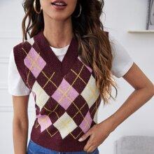 Pulloverweste mit V-Kragen und Argyle Muster