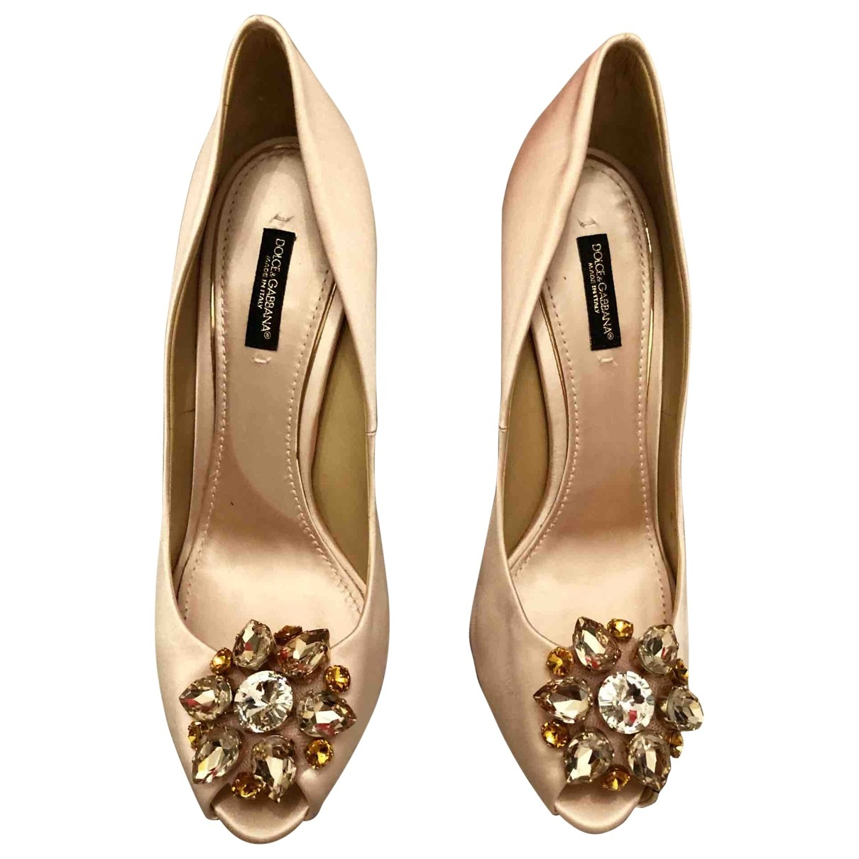 Dolce & Gabbana Taormina Pink Cloth Heels for Women 39 EU