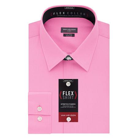 Van Heusen Flex Collar Extra Slim Stretch Long Sleeve Dress Shirt, 17.5 34-35, Pink