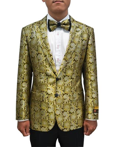 Cheap Mens Printed Flower Jacket Prom modern Tux Bronze