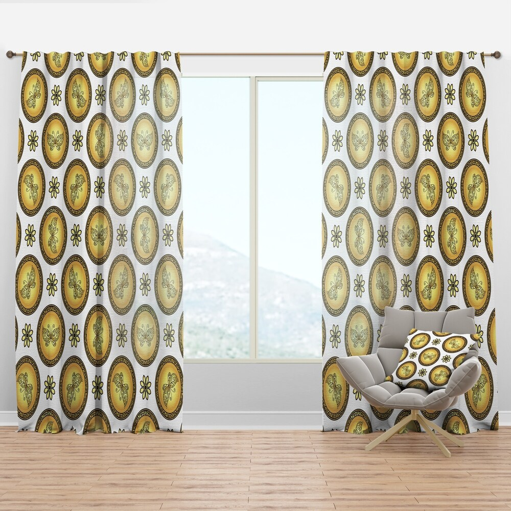 Designart 'Gold and browne pattern with gradient vintage circles' Mid-Century Modern Curtain Panel (50 in. wide x 120 in. high - 1 Panel)