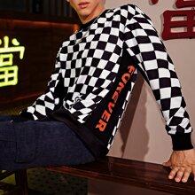 Pullover mit Buchstaben Grafik und Karo Muster