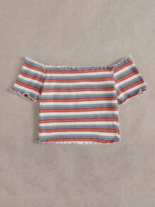 Off Shoulder Lettuce Trim Rib-knit Striped Top