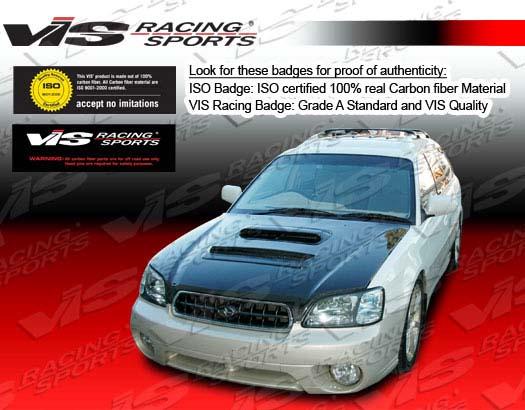 VIS Racing 00SBLEG4DVL-010C Carbon Fiber V Line Hood Subaru Impreza 00-04