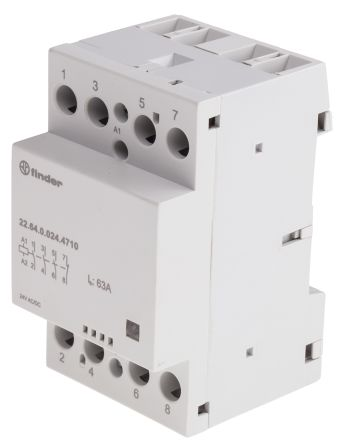 Finder , 24 V dc, 24 V ac Coil Non-Latching Relay 3PDT, 63A Switching Current DIN Rail, 4 Pole