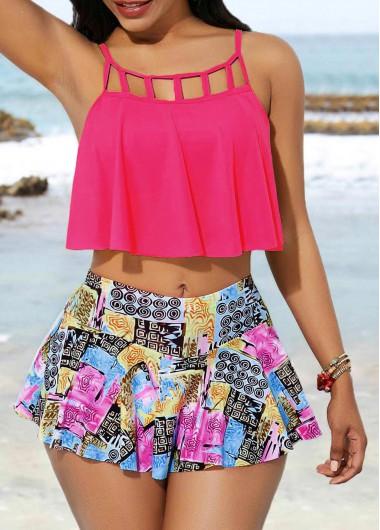 Rosewe Women Pink Cute Swimwear Swimsuit Cage Neck Swimwear Top and Pantskirt - XL
