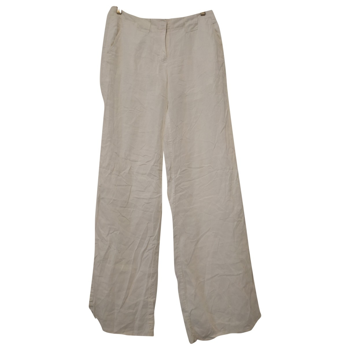 Tommy Hilfiger \N White Linen Trousers for Women 10 US