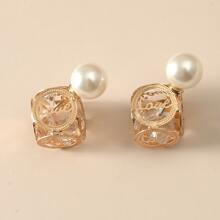 Faux Pearl Decor Double Stud Earrings