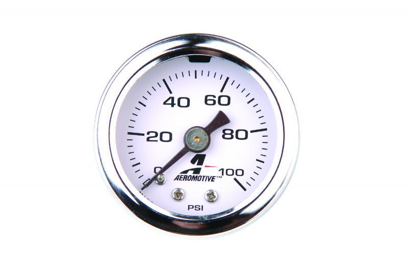 Aeromotive 15633 Fuel System Pressure Gauge, Fuel, 0 to 100 psi, Liquid Filled