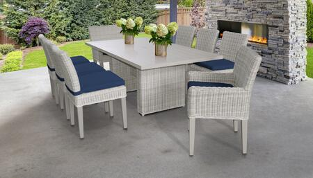 Coast Collection COAST-DTREC-KIT-6ADC2DCC-NAVY Patio Dining Set With 1 Table  6 Side Chairs  2 Arm Chairs - Beige and Navy