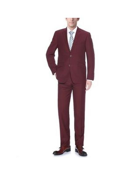 Mens Two Buttons Burgundy Notch Lapel Slim Fit Suit
