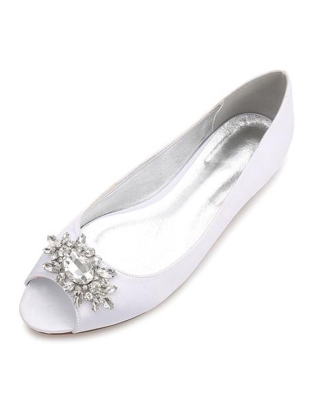 Milanoo Zapatos de novia de seda y saten Zapatos de Fiesta Plana Zapatos Color champaña Zapatos de boda de punter Peep Toe 1.5cm con pedreria