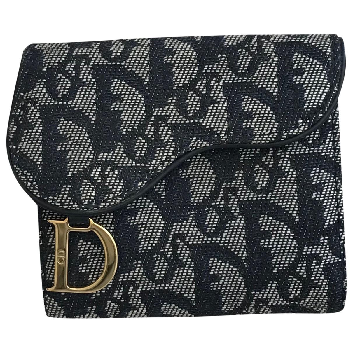 Dior Saddle Portemonnaie in  Blau Leinen