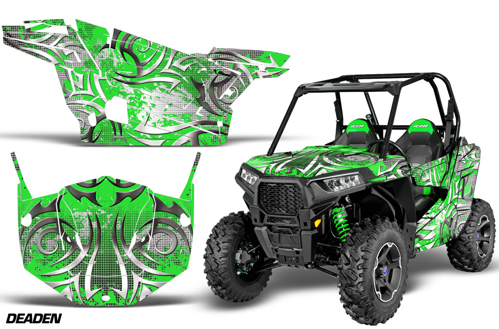 AMR Racing  Full Custom UTV Graphics Decal Kit Wrap Deaden Green Polaris RZR S 900 15-16