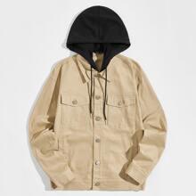 Jacke mit Taschen Flicken und Kapuze